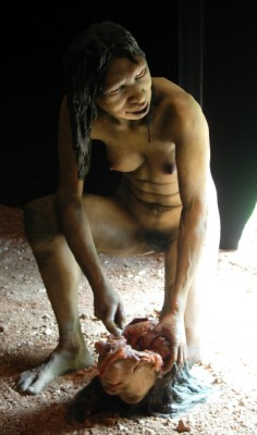 Model of a female Homo antecessor of Atapuerca mountains